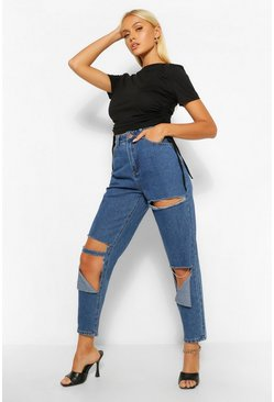 Blue Ripped Detail Mom Jeans