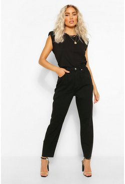 Black High Waisted Pleat Detail Jean
