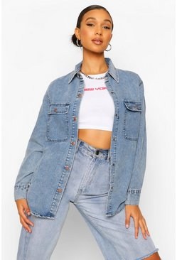 Mid blue blue Denim Washed Pocket Oversized Shirt