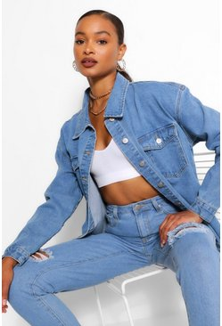 Mid blue blue Denim Fray Hem Lonline Jacket