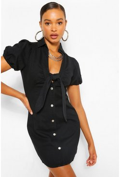 Black Denim Puff Sleeve Tie Front Dress