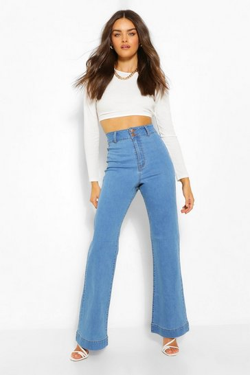 Mid blue blue Basic Fitted Denim Flared Jean