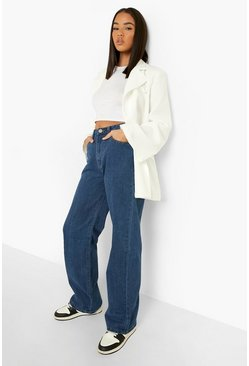 Mid blue Denim Basic Wide Leg Jeans
