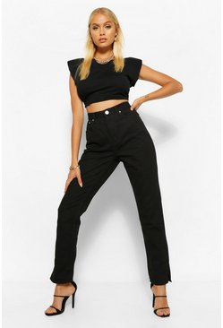 Black High Waisted Split Hem Straight Leg Jean