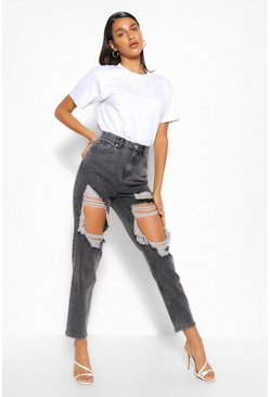 Grey Wash Heavily Distressed Mom Jeans