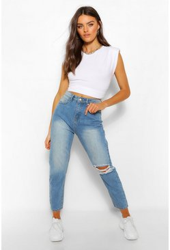 Mid blue blue Knee Rip Straight Leg High Waisted Jeans
