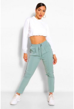 Mint green Seam Detail Tie Waist Jogger
