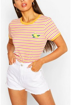 Coral pink Lemon Stripe Ringer T-shirt