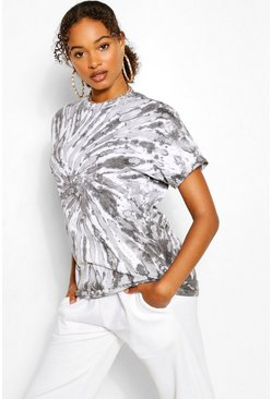 Zwart black Oversized Tie Dye T-Shirt