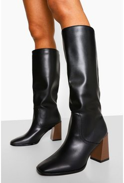 Black Low Block Heel Knee High Boot