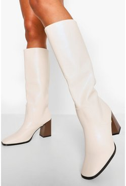 Cream white Low Block Heel Knee High Boot