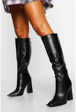 Black Flare Heel Knee High Boot
