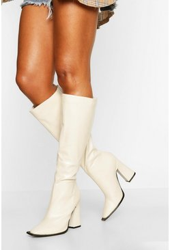Cream Flare Heel Knee High Boot