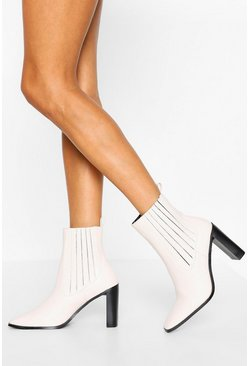 Cream white Flat Heel Square Toe Shoe Boot