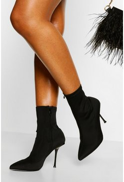 Black Stiletto Pointed Toe Shoe Boot