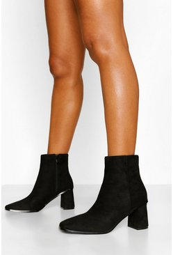 Black Low Block Heel Square Toe Shoe Boot
