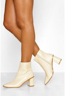 Cream Low Block Heel Square Toe Shoe Boot