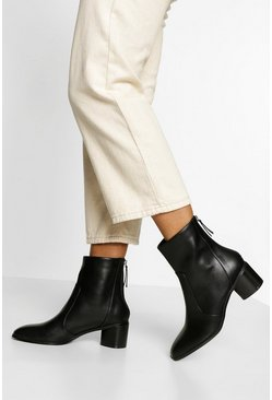 Black Low Block Heel Zip Back Boot