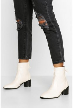 Cream white Low Block Heel Zip Back Boot