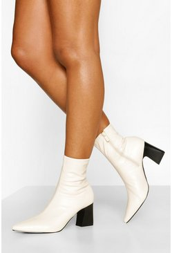 Cream Pointed Low Block Heel Sock Boot