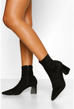 Black Pointed Low Block Heel Sock Boot