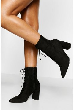 Black Lace Front Block Heel Sock Boot