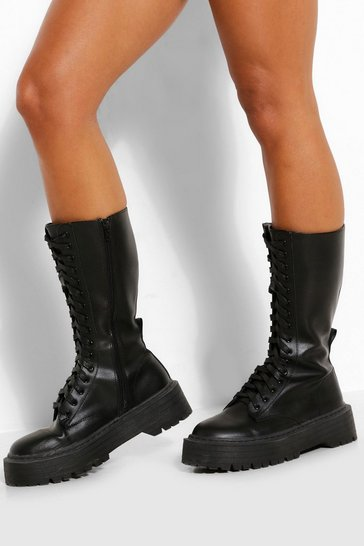 Black Lace Front Chunky Knee High Hiker Boots