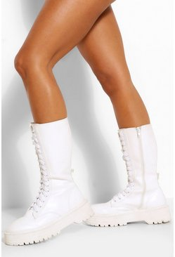 White Lace Front Chunky Knee High Hiker Boot