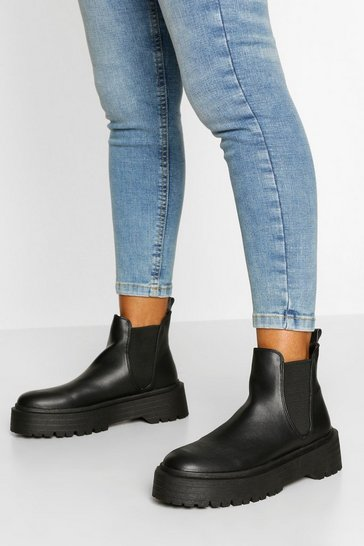 Black Chunky Sole Chelsea Boot