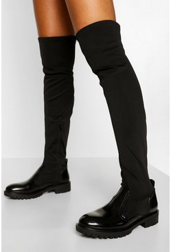 Black Sock Detail Chunky Sole Over The Knee Boot
