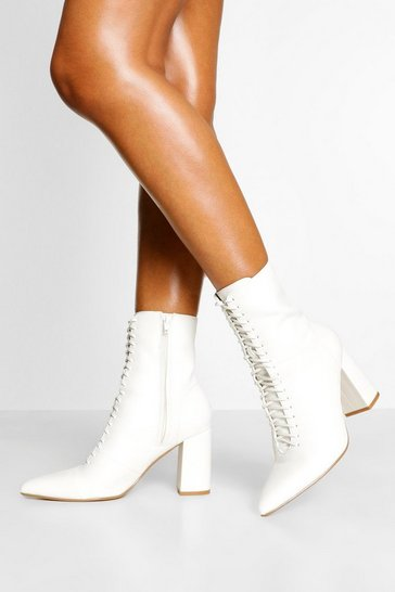 White Lace Front Block Heel Sock Boot