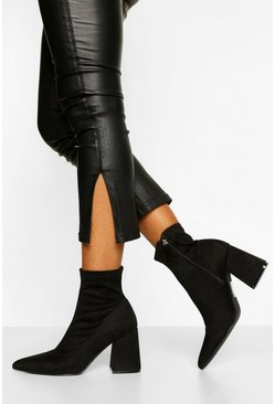 Black Block Heel Pointed Toe Shoe Boot