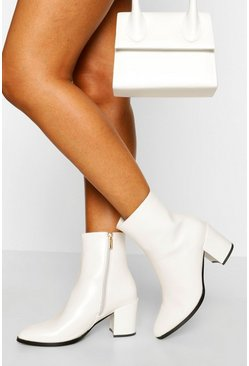 White Block Heel Shoe Boot