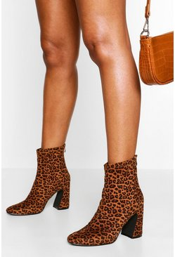 Leopard Block Heel Sock Boot