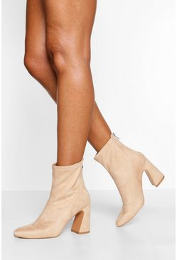 Nude Block Heel Sock Boot