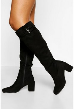 Black Low Block Heel Square Toe Knee Boot