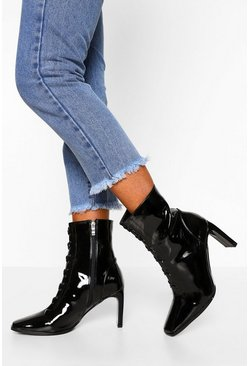 Black Lace Front Low Heel Shoe Boot