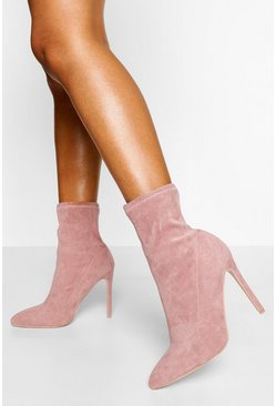 Pink Stiletto Pointed Toe Sock Boot