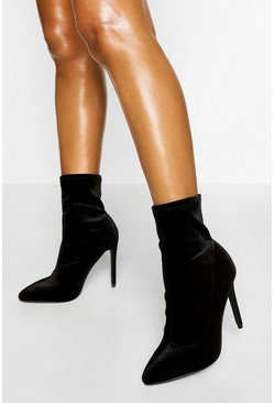 Black Velvet Stiletto Sock Boot