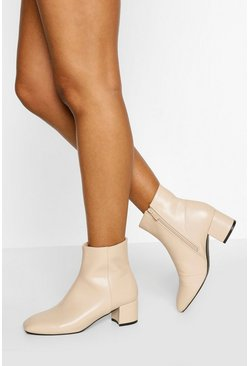 Cream white Low Block Heel Shoe Boot