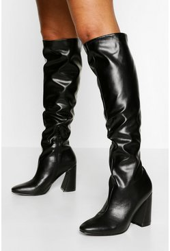 Black Block Heel Knee High Boot