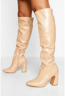 Nude Block Heel Knee High Boot
