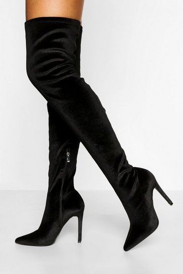 Black Velvet Stiletto Over The Knee Boot