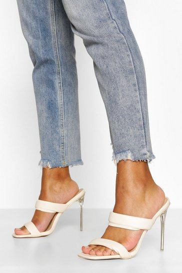 Cream white Padded Strap Clear Heel Mules