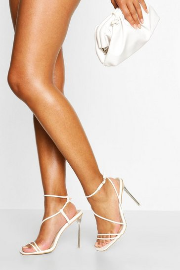 White Clear Square Toe Strappy Heels