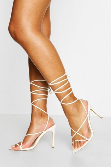 White Pointed Toe Strappy Wrap Up Stiletto Heels
