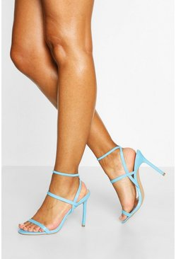 Blue Elastic Strappy Stiletto Heels