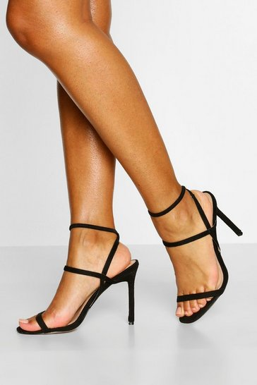 Black Elastic Strappy Stiletto Heels