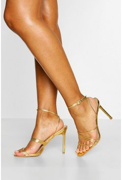 Gold metallic Skinny Super Strappy Stiletto Heels