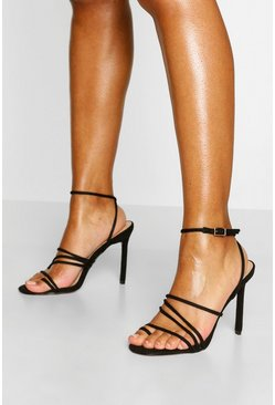 Black Skinny Super Strappy Stiletto Heels